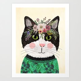 Cat with flower crown Art Print
