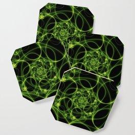 Dancing Green Light, Abstract Fractal Art Coaster