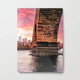 Minneapols Skyline Under the Stone Arch Bridge Metal Print
