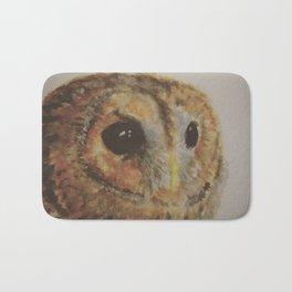 Watercolor Tawny Owl Painting Bath Mat