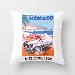 1936 Monaco Grand Prix Race Poster  Throw Pillow