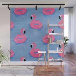 Flamingos Pool Floats Wall Mural