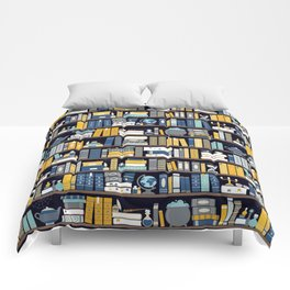Book Case Pattern - Blue Yellow Comforters
