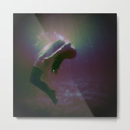 Drowning Glitch Metal Print