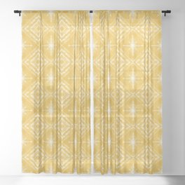 Shibori Star Pattern in Mustard Yellow Sheer Curtain