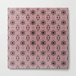 Bridal Rose Floral Geometric Pattern Metal Print