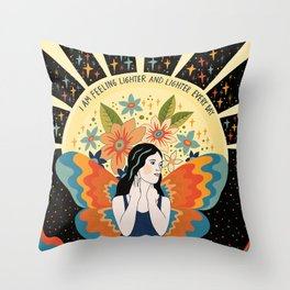 Feeling lighter and lighter Throw Pillow