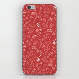 New Year Christmas winter holidays pattern with gifts, candys, christmas tree and toys, santa hat, s iPhone Skin