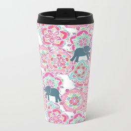 Tiny Elephants in Fields of Flowers Metal Travel Mug