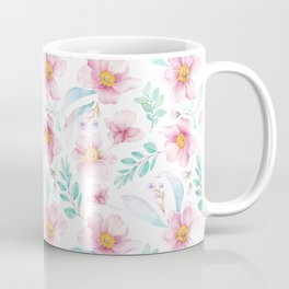 Elegant hand painted blush pink teal watercolor floral Coffee Mug