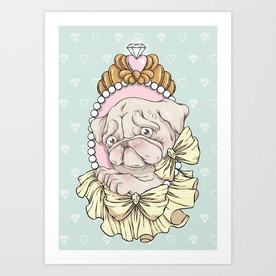 Spoilt Pug Art Print