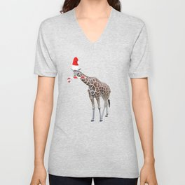 Christmas Giraffe with Santa Hat Unisex V-Neck
