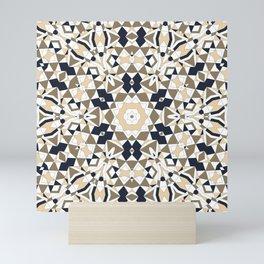 Mandala grey and beige Mini Art Print