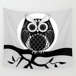 Graphic vector owl on branch in B&W Wall Tapestry