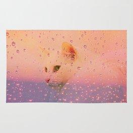 White Cat, rainy Day Rug