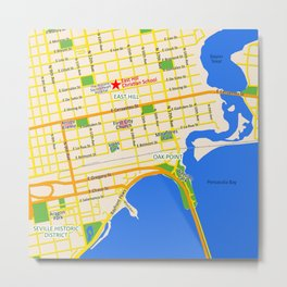 Map of Pensacola, FL - East Hill Christian School Metal Print