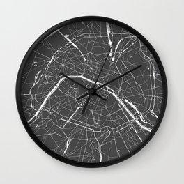 Paris France Minimal Street Map - Grey on White Wall Clock