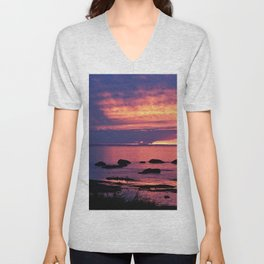 Sunset on the Mighty St-Lawrence Unisex V-Neck