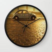 vw Wall Clocks featuring VW Beetle by Maria Heyens