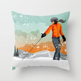 Skier Looking Throw Pillow
