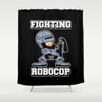 robocop Shower Curtains featuring Fighting Robocop by Buby87