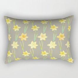 Yellow Watercolour Stemmed Daffodil Pattern Rectangular Pillow