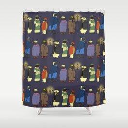 Victorian Penguins Shower Curtain