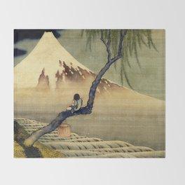 Katsushika Hokusai Boy Viewing Mount Fuji Throw Blanket