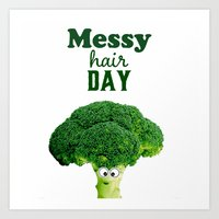 Messy hair day Art Print
