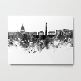 Washington DC skyline in black watercolor on white background  Metal Print