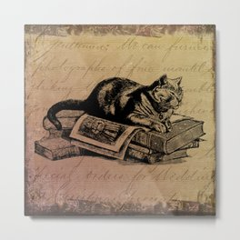 Vintage Cat Collage-Grunge Background Metal Print