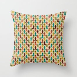 Little Rockets - Atomic Age Mid-Century Modern Pattern in Mid Mod Multicolour  Throw Pillow