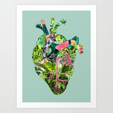 Botanical Heart Mint Art Print