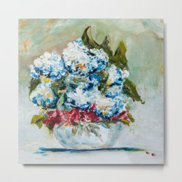 Hydrangeas in a bowl with lady bugs Metal Print