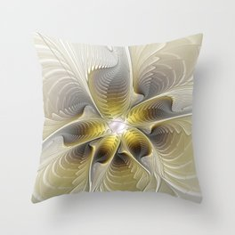 Gold And Silver, Abstract Flower Fractal Throw Pillow