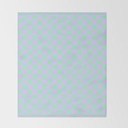 Magic Mint Green and Pale Lavender Violet Checkerboard Throw Blanket
