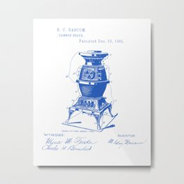 Cannon Stove Vintage Patent Hand Drawing Metal Print