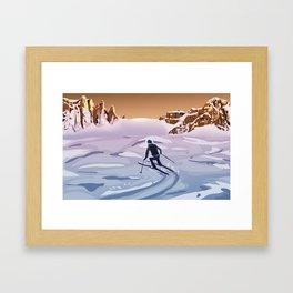Skiing on Mars Framed Art Print