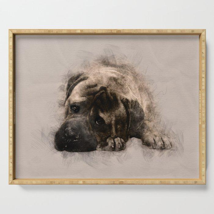 Bullmastiff Puppy Sketch Serving Tray