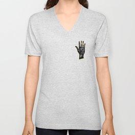 Black palmistry hand Unisex V-Neck