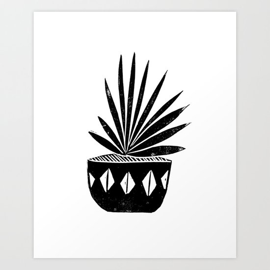 Houseplant Linocut Aloe Vera Art Botanical Black And White