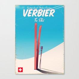 Verbier Switzerland vintage ski poster Canvas Print