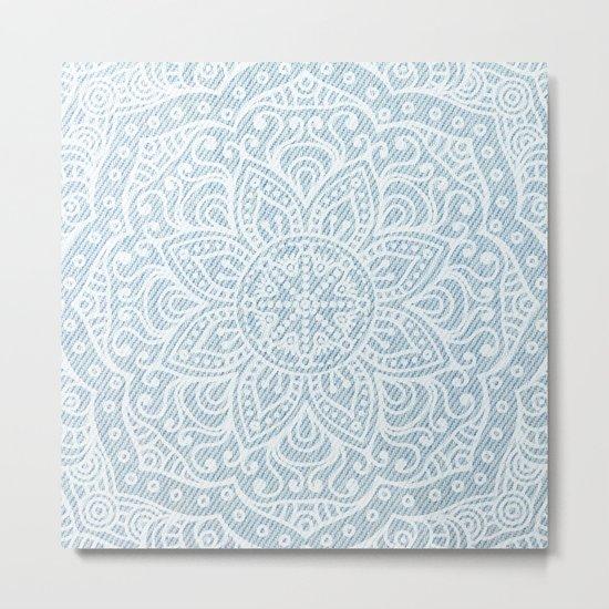 Mandala on Light Blue Jeans Metal Print