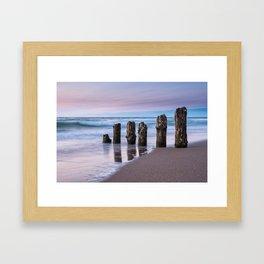 Groynes on the Baltic Sea coast Framed Art Print