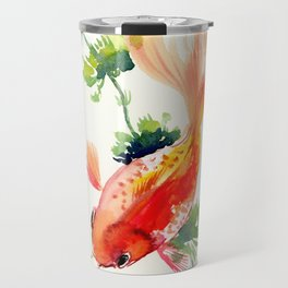 Goldfish, aquarium fish art, design watercolor fish painting Travel Mug