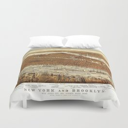 Aerial View of New York and Brooklyn (1875) Duvet Cover