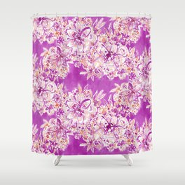 GOOD VIBES Wild Pink Watercolor Floral Shower Curtain