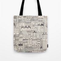city Tote Bags featuring city by rubyetc