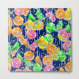 Pop Art Citrus Fizz on Navy Metal Print
