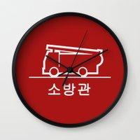 korea Wall Clocks featuring Keep Clear - Korea by Crazy Thoom